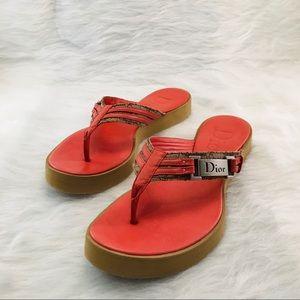 DIOR Orange Diorissimo Beach Tong Slippers
